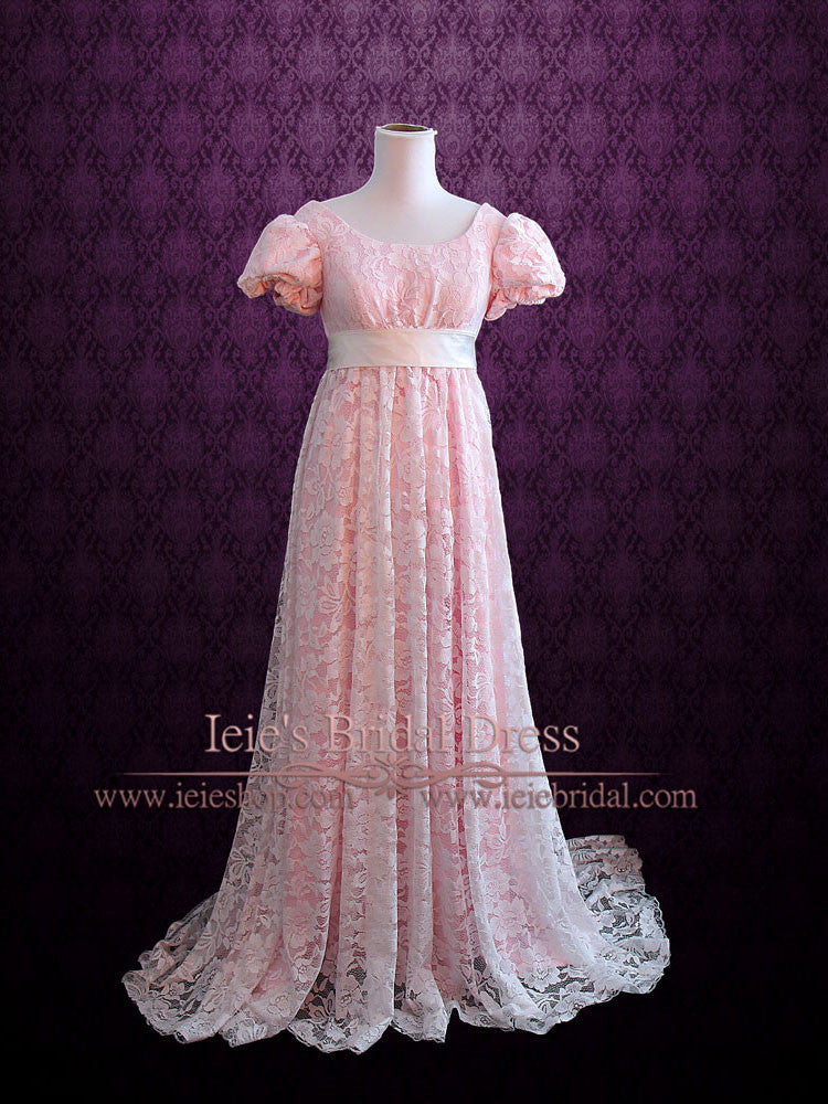 Pink Regency Empire Waist Formal Prom Dress – ieie