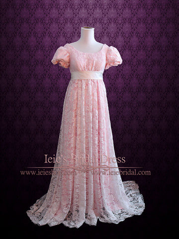 Pink Regency Empire Waist Formal Prom Dress