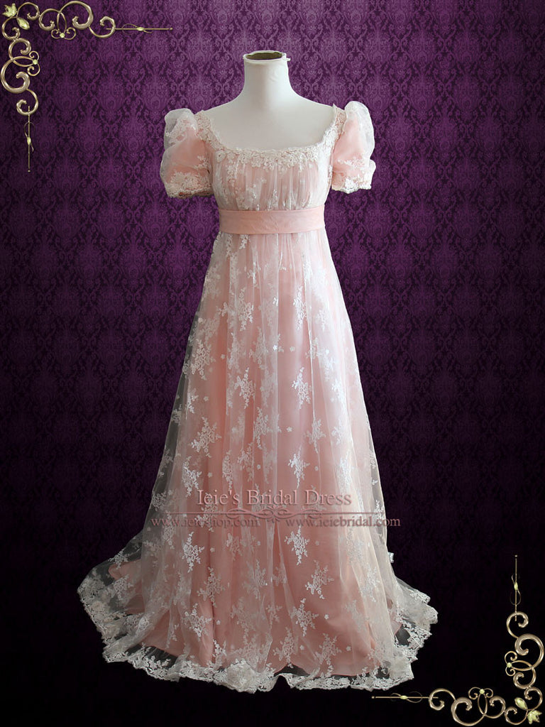 Pink Lace Regency Style Ball Gown Wedding Dress | Helena