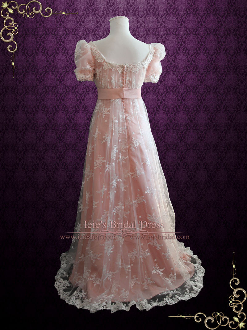Pink Lace Regency Style Ball Gown Wedding Dress | Helena | ieie Bridal