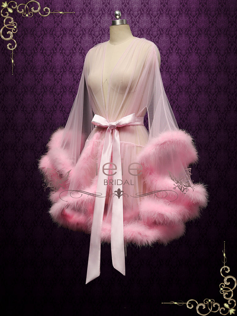 Pink Honeymoon Wedding Marabou Fur Edge Boudoir Robe CICI
