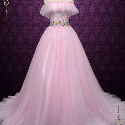 Pink Off Shoulder Formal Evening Dress | Robine
