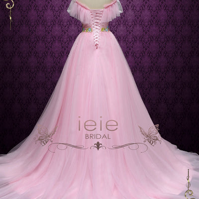 Pink Off Shoulder Princess Formal Evening Dress | Robine