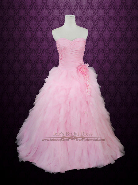 Pink Wedding Dress with Ruched Sweetheart and Cascading Ruffles | Rochelle