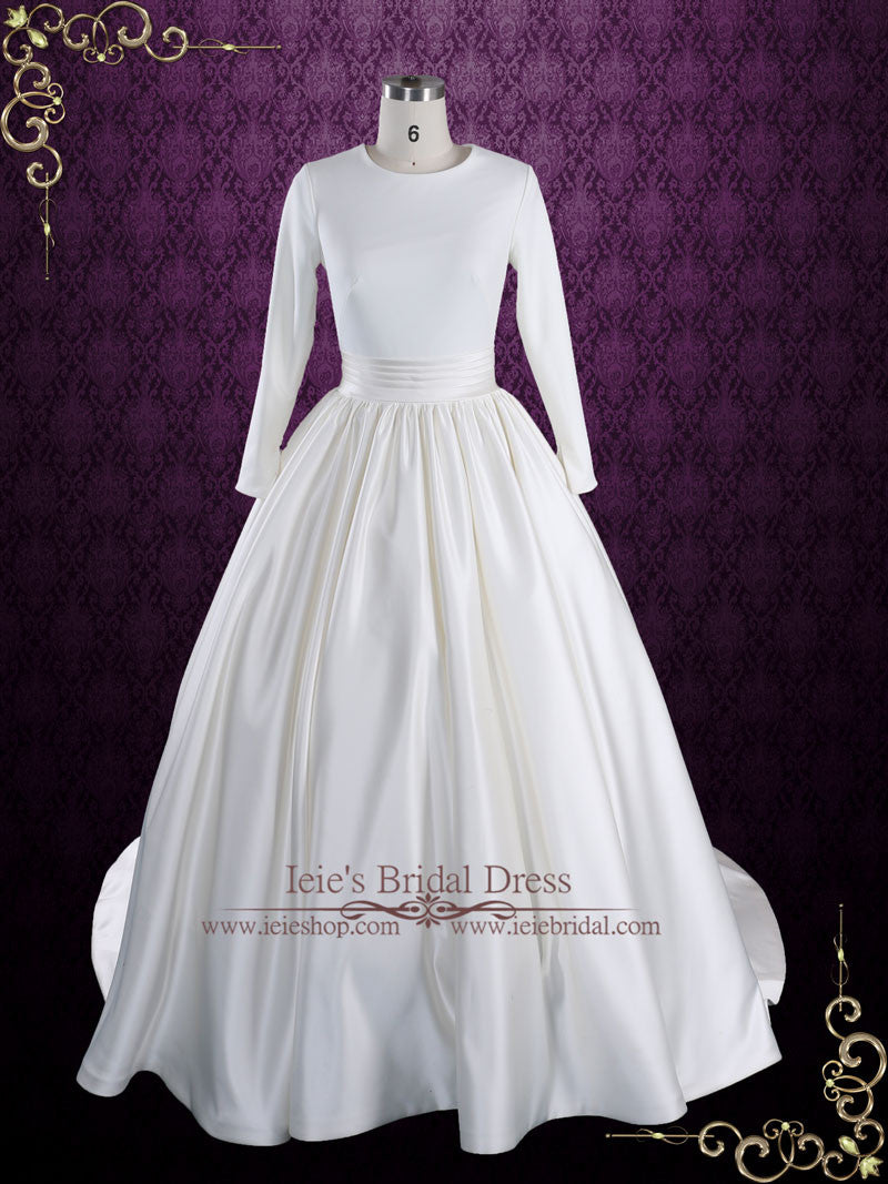 Modest Plain Ball Gown Wedding Dress with Long Sleeves | Katrine ...