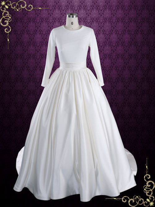 Source https   www.ieiebridal.com products modest-plain-ball-gown-wedding- dress-with-long-sleeves-katrine 618ad9053771