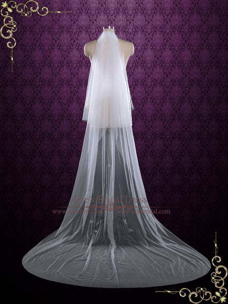 Plain Soft Tulle Chapel Length Wedding Veil With Blusher
