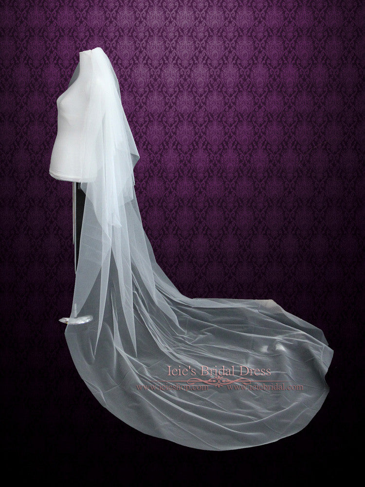 Plain Soft Tulle Chapel Length Wedding Veil with Blusher VG1040