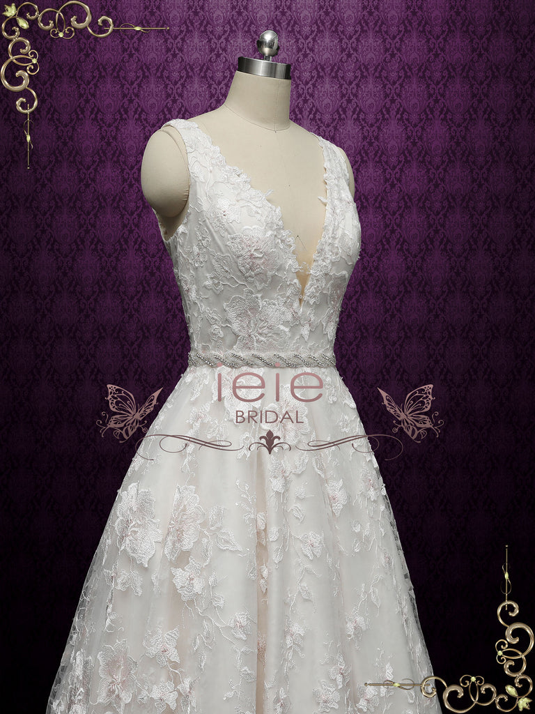 Champagne Lace Ball Gown Wedding with Plunging Neckline ARLET