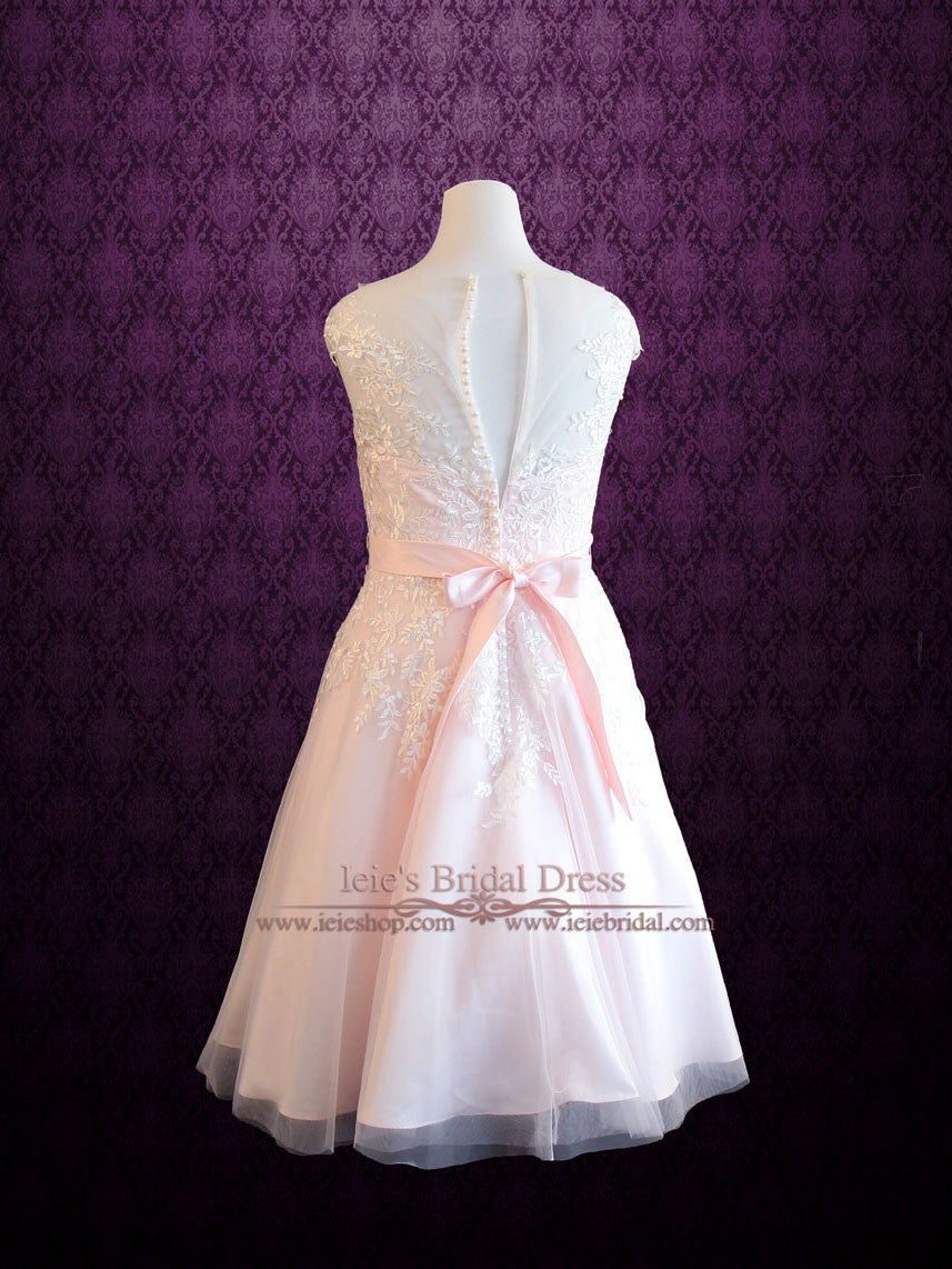 Plus Size Frosty Pink Tea Length Lace Wedding Dress