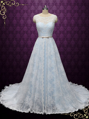 Powder Blue Lace Wedding Dress with Center Split Lace Skirt | Charice