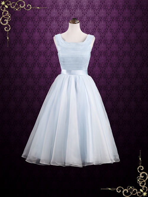 Ice Blue Short Tea Length Wedding Dress Formal