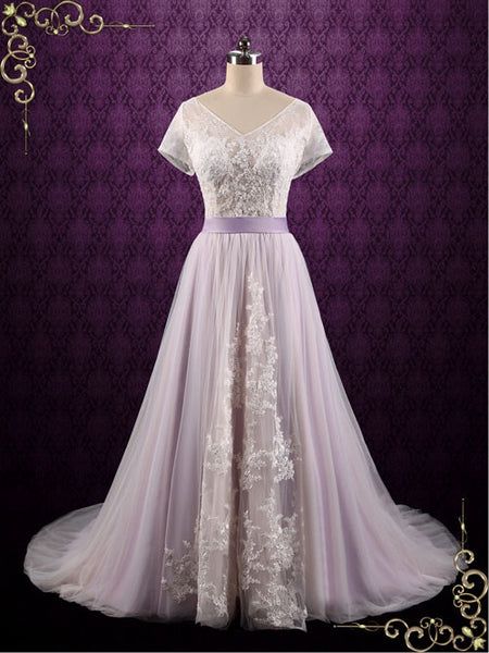 Purple Violet Lace Fairy Tale Wedding Wedding Dress | Hayley