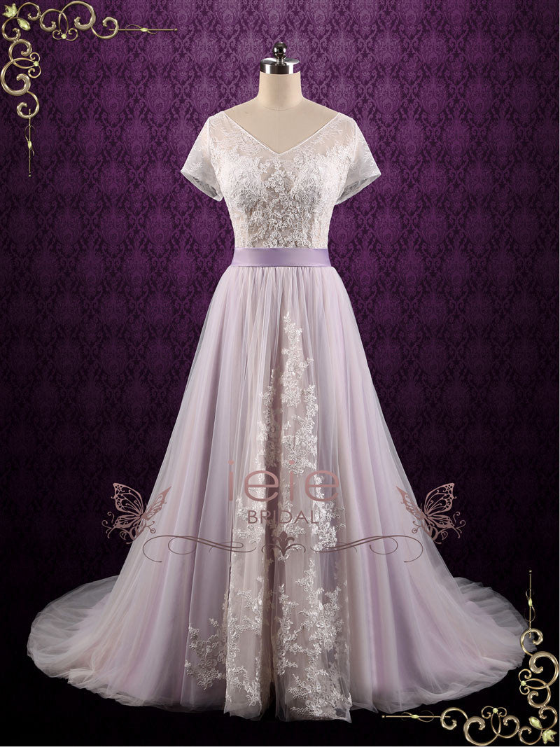 Purple Violet Lace Fairy Tale Wedding Wedding Dress | Hayley – ieie