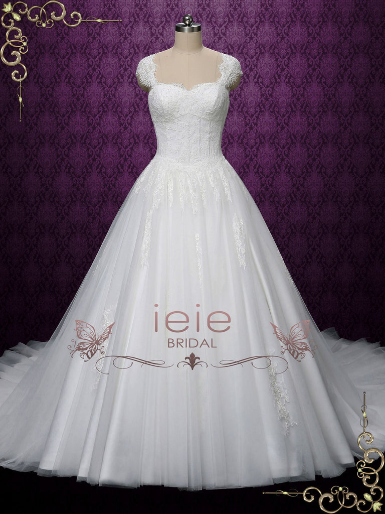 Princess Ball Gown Lace Wedding Dress with Cap Sleeves | Salina