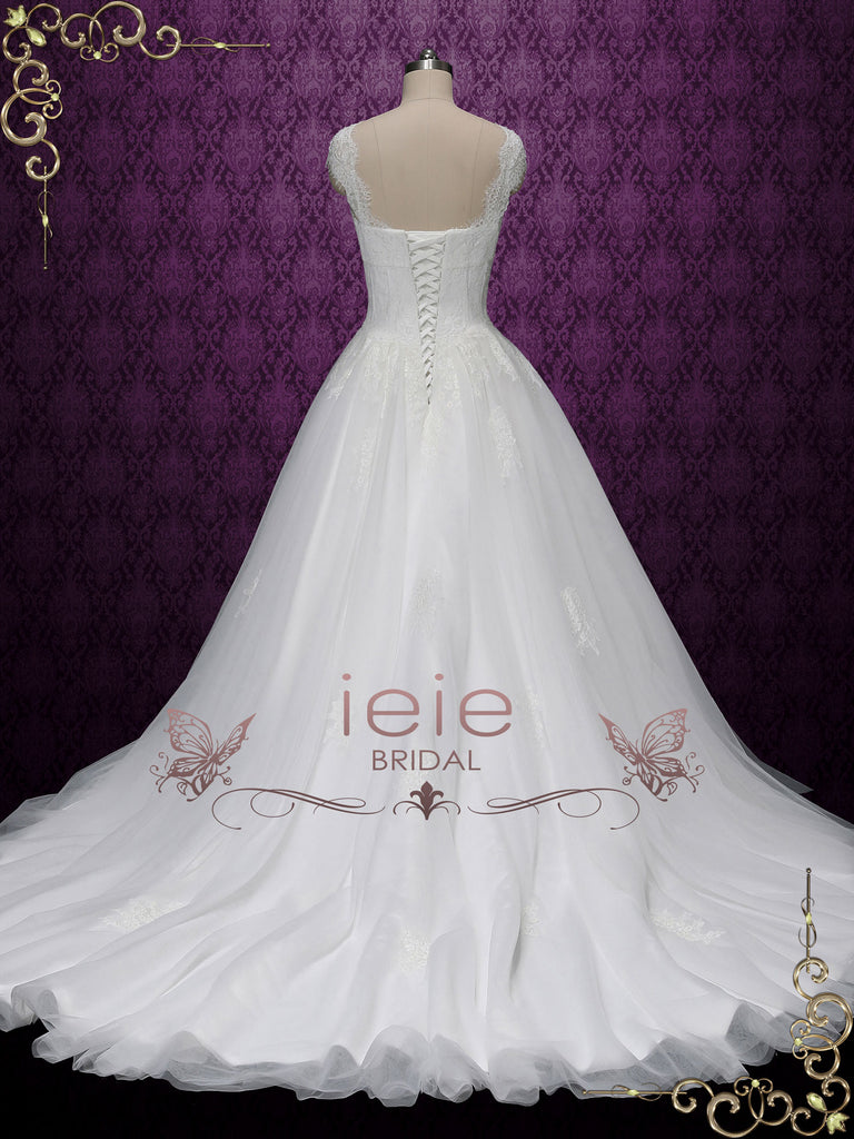 Princess Ball Gown Lace Wedding Dress with Cap Sleeves SALINA