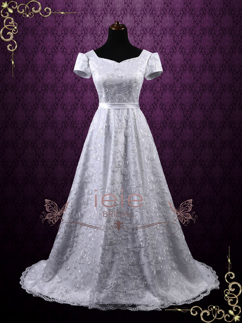Princess A-line Lace Wedding Dress with Puff Sleeves | Gracie | ieie ...
