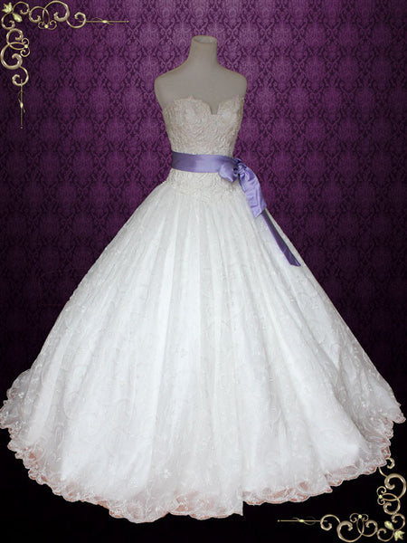 Princess Lace Ball Gown Wedding Dress with Ribbon Sash | Victoria
