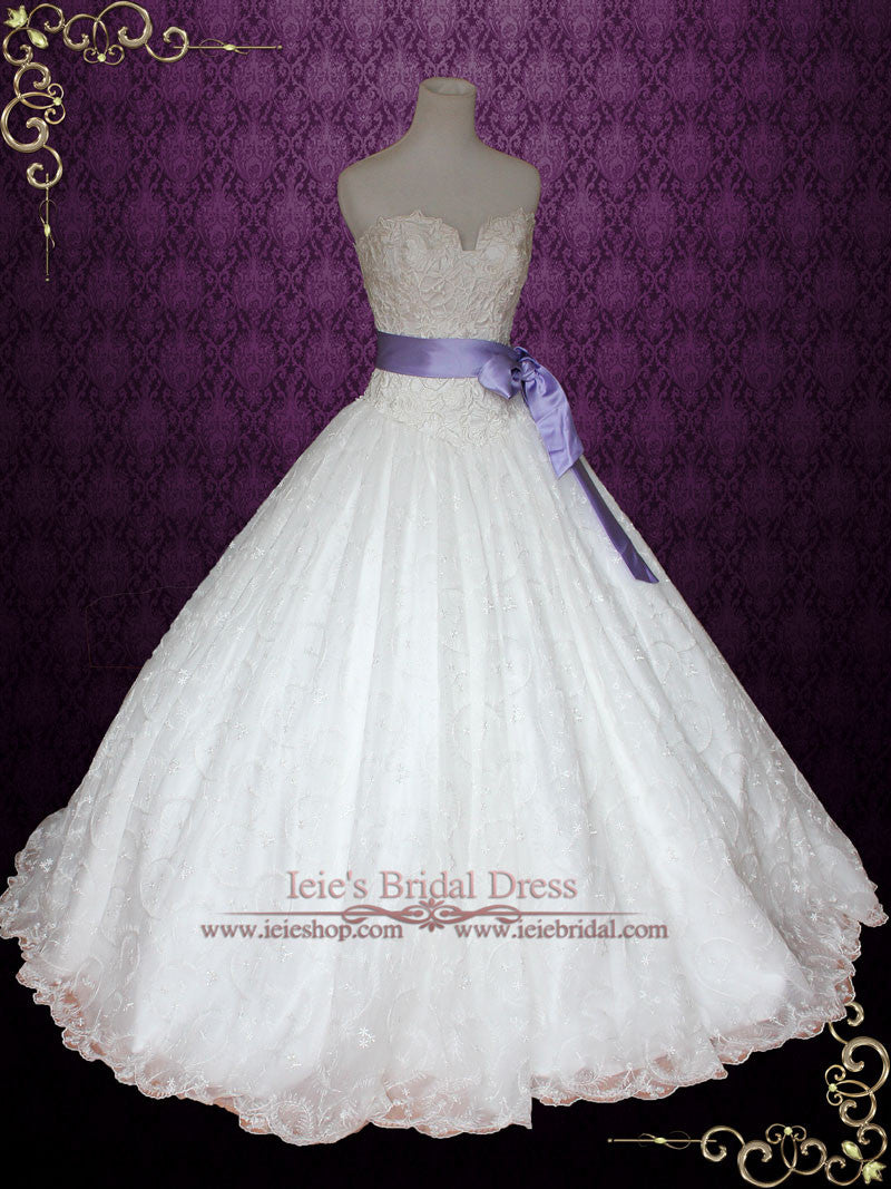 Princess Lace Ball Gown Wedding Dress with Ribbon Sash | Victoria – ieie