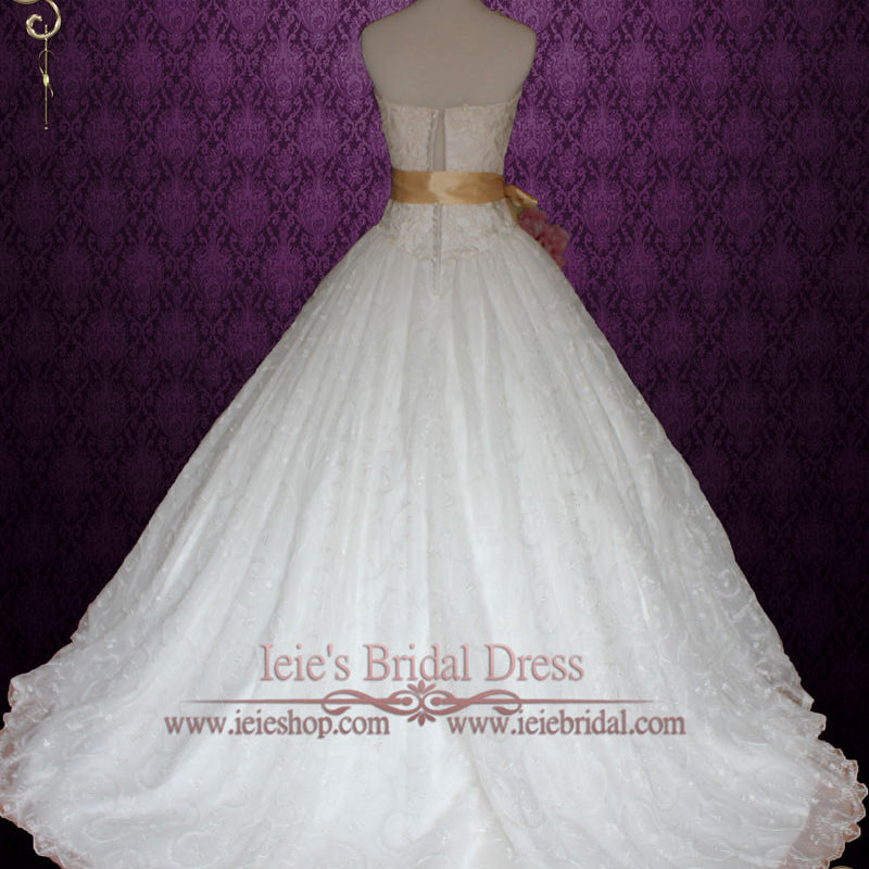 Fairy Tale Princess Lace Ball Gown Wedding Dress with Ribbon Sash | Victoria