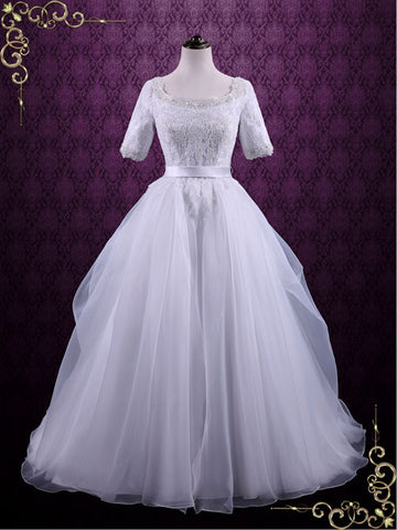 modest ball gown wedding dress with sleeves rachel