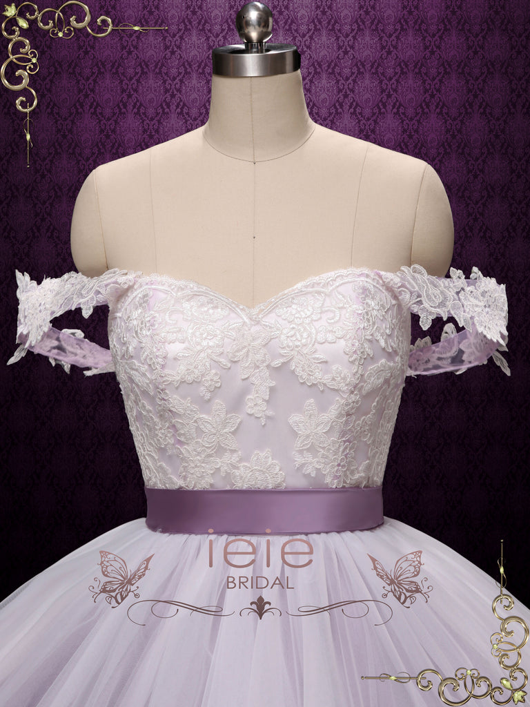Purple Ball Gown Off Shoulder Wedding Dress | VARLEY
