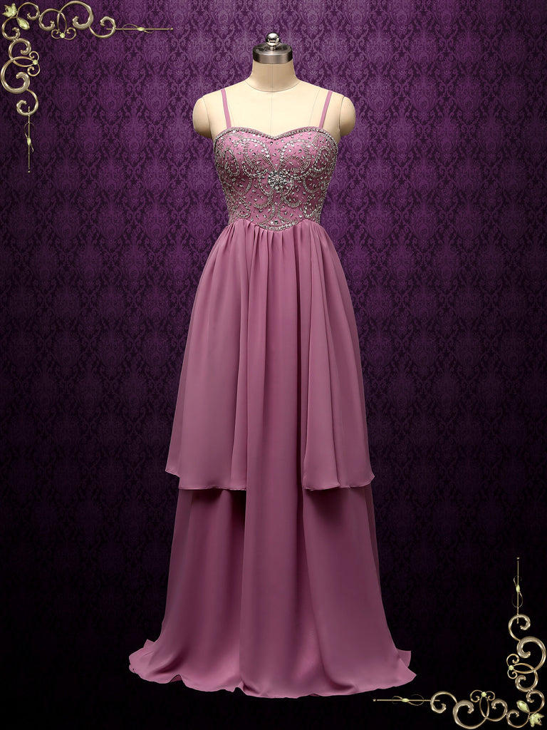Purple Chiffon Wedding Dress with Beaded Bodice SOFINA