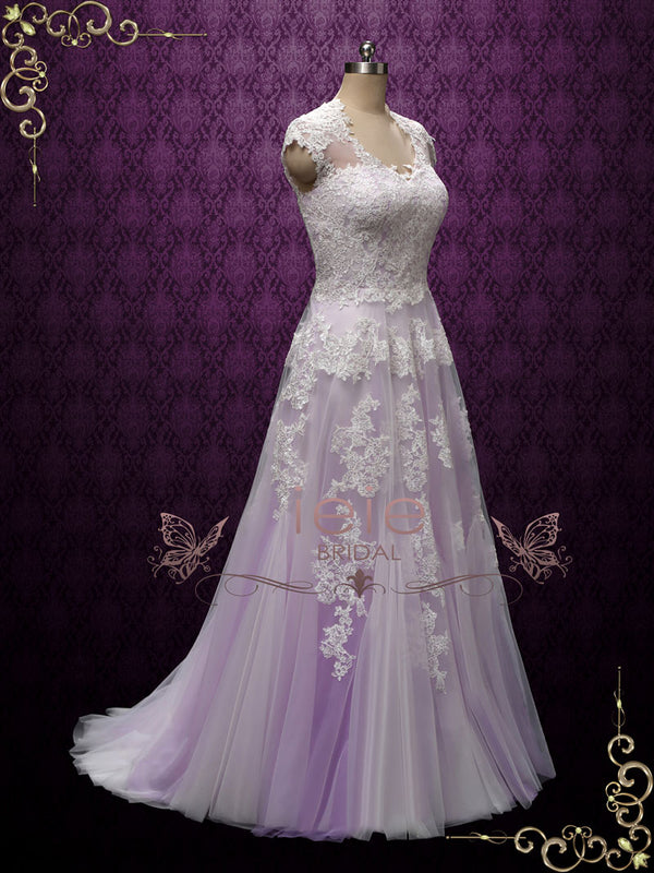 Lavender Purple Bohemian Beach Lace Wedding Dress | Korynne