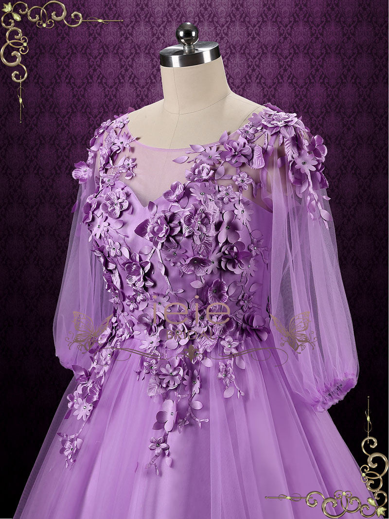 Purple Floral Formal Evening Dress Wedding Dress | Camilia – ieie