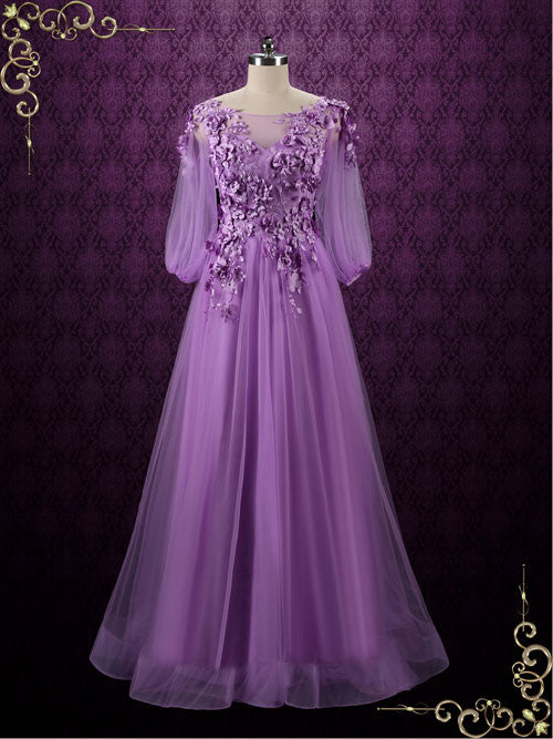 Purple Floral Formal Evening Dress Wedding Dress | Camilia