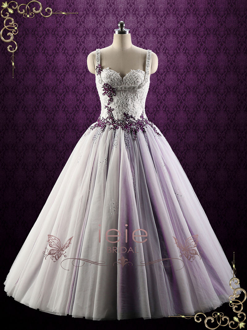 purple lace ball gown style wedding dress  violet  ieie