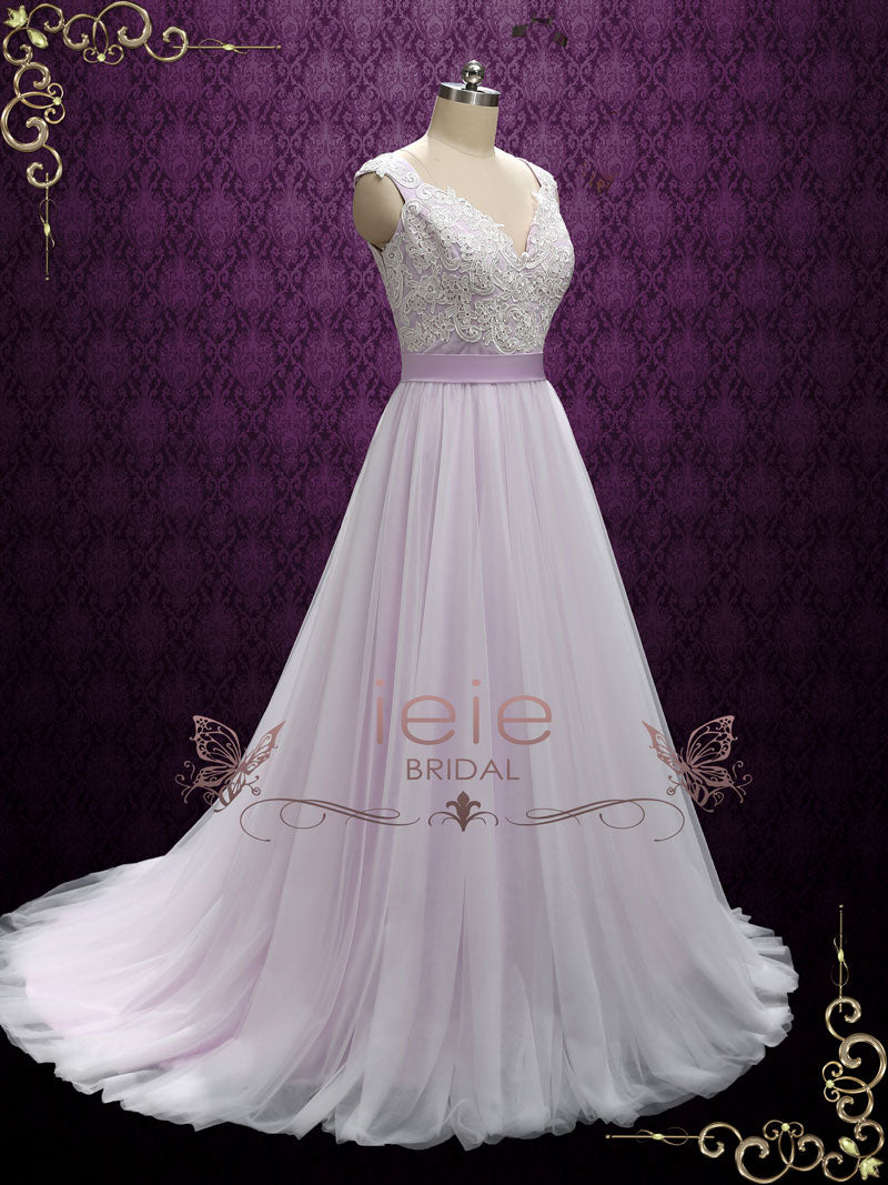 Purple Fairytale Wedding Dress with Lace and Soft Tulle | Sera ...