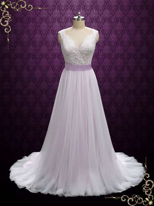 Purple Fairytale Wedding Dress with Lace and Soft Tulle | Sera