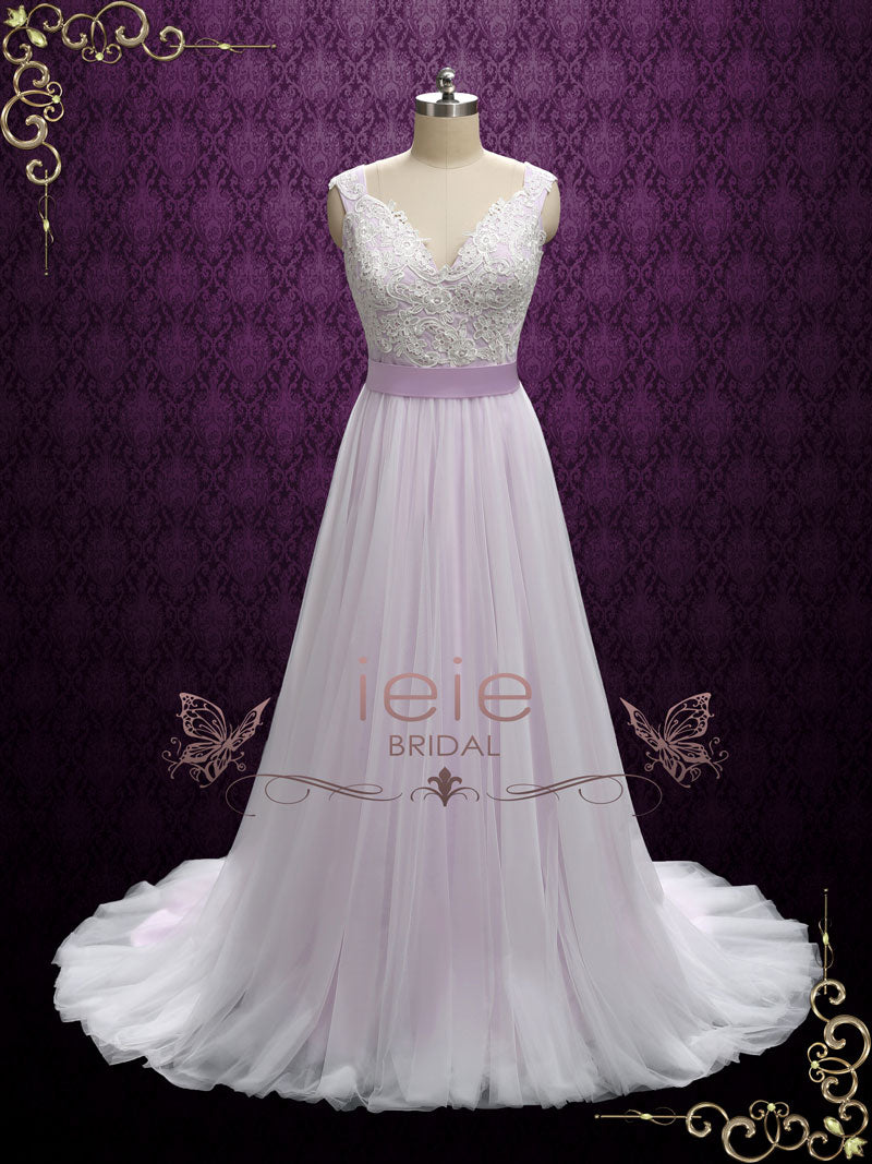 Purple Fairytale Wedding Dress With Lace And Soft Tulle
