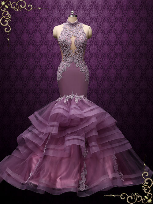 Purple Ruffle Mermaid Wedding Dress