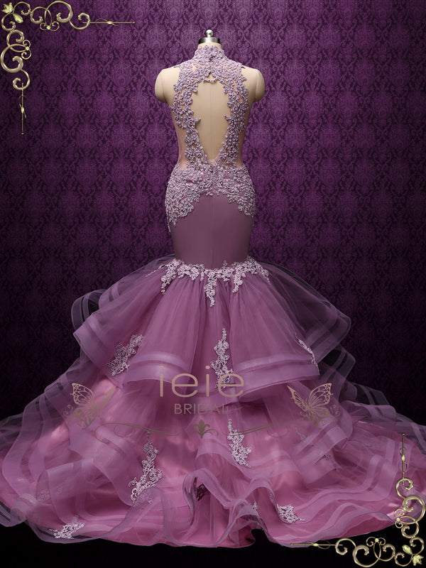 Purple Mermaid Wedding Dress with Ruffle Skirt