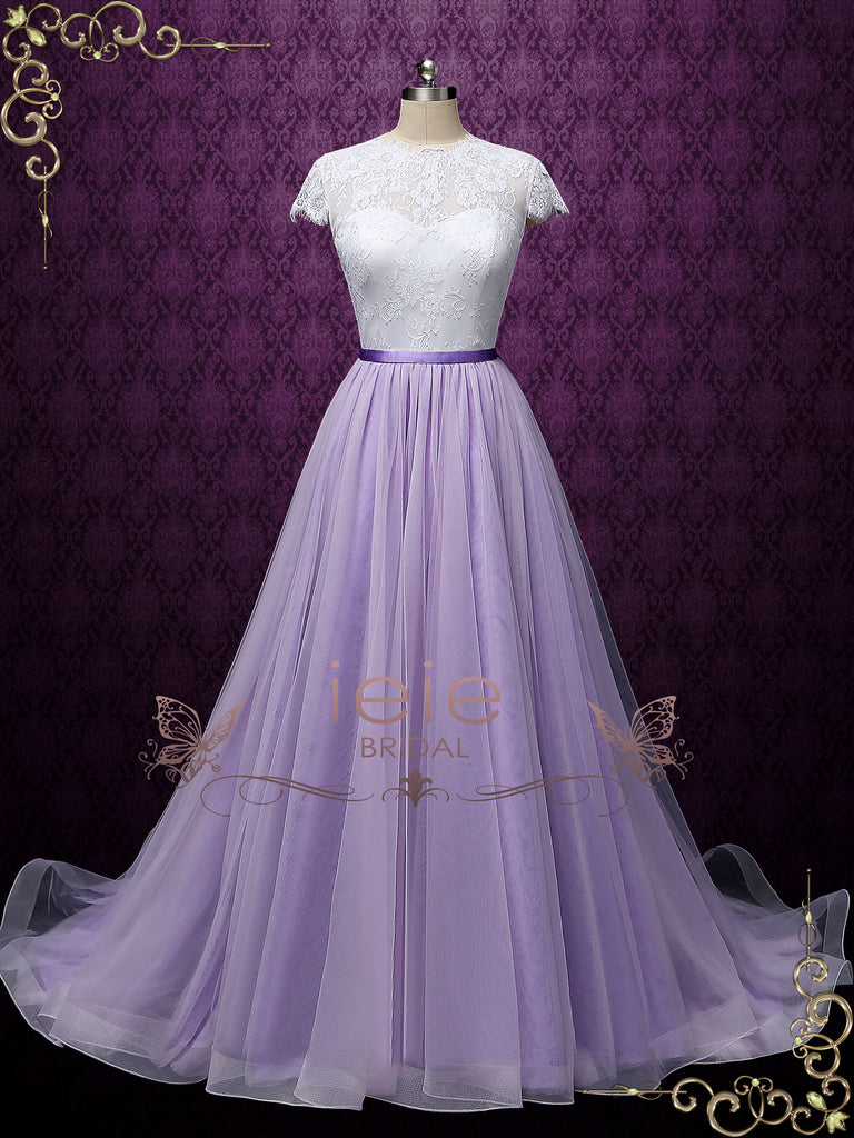 Purple Tulle Skirt with Horsehair Hem ZARIA