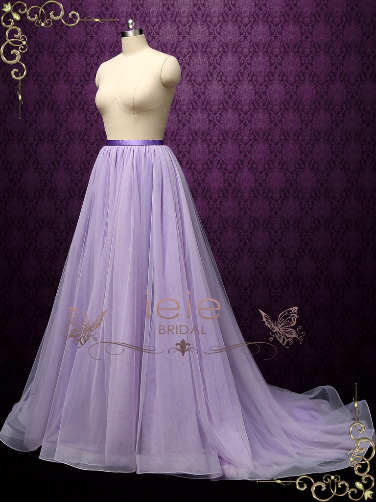Purple Tulle Skirt with Horsehair Hem | Zaria