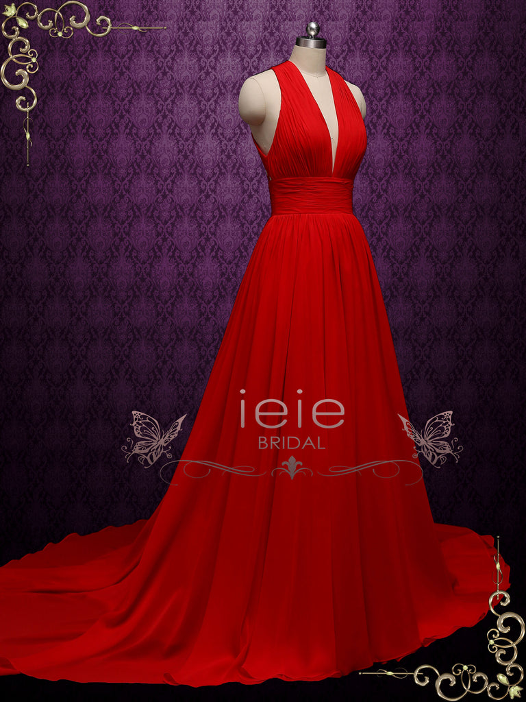 Sexy Red Chiffon Wedding Dress with Plunging Neck MOULIN