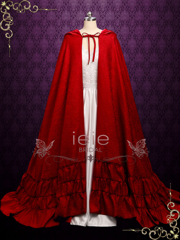 Vintage Style Long Red Cloak with Hood with Ruffle Edges