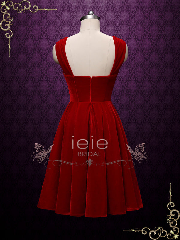Scarlet Retro Red Tea Length Casual Dress