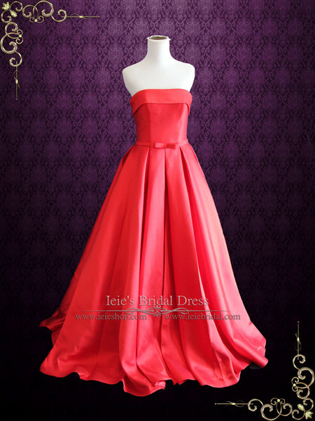 Strapless Red Wedding Dress with Chic Bow | Ruby
