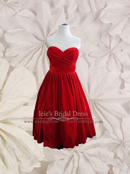 Retro Strapless Red Velvet Tea Length Prom Evening Dress | Sherry