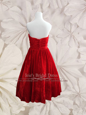 vintage inspired strapless red velvet tea length prom dress