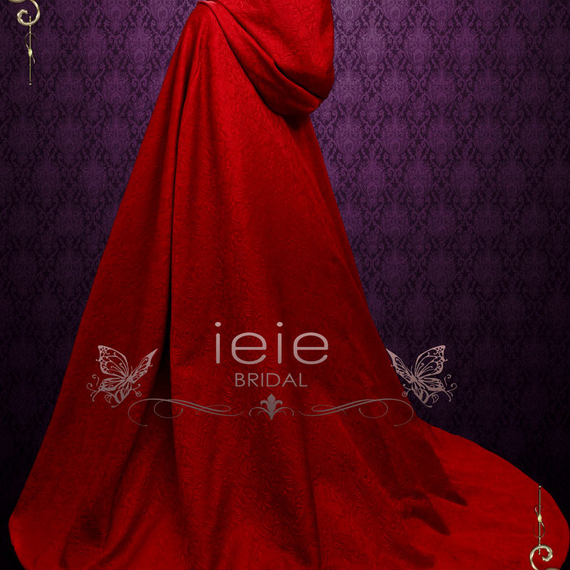 Vintage Style Long Red Cloak with Hood