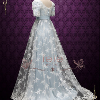 Powder Blue Regency Lace Evening Ball Gown | Helena