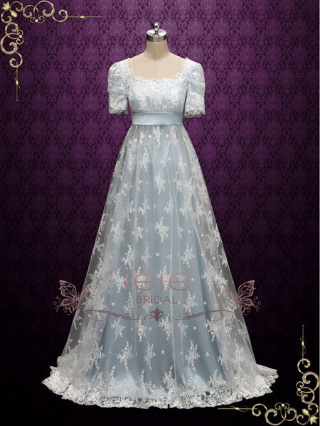 Powder Blue Regency Lace Evening Ball Gown Helena Ieie
