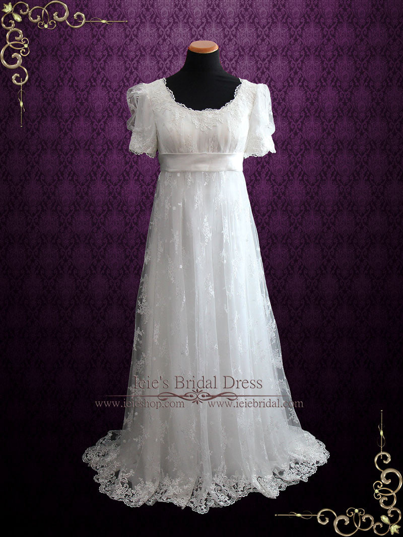 Regency style lace wedding dress with empire waist amiee for Period style wedding dresses