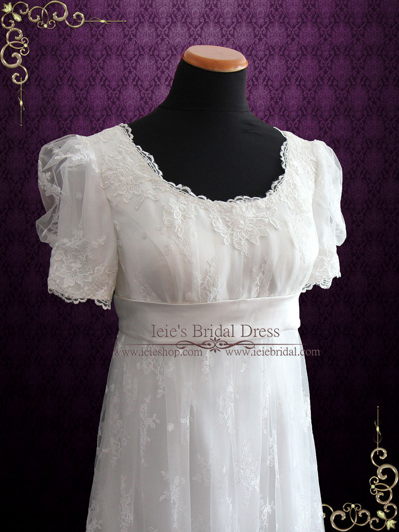 Regency Style Lace Wedding Dress With Empire Waist Amiee