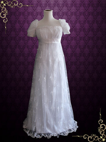 1920s Regency Style Empire Waist Lace Wedding Dress | Emma